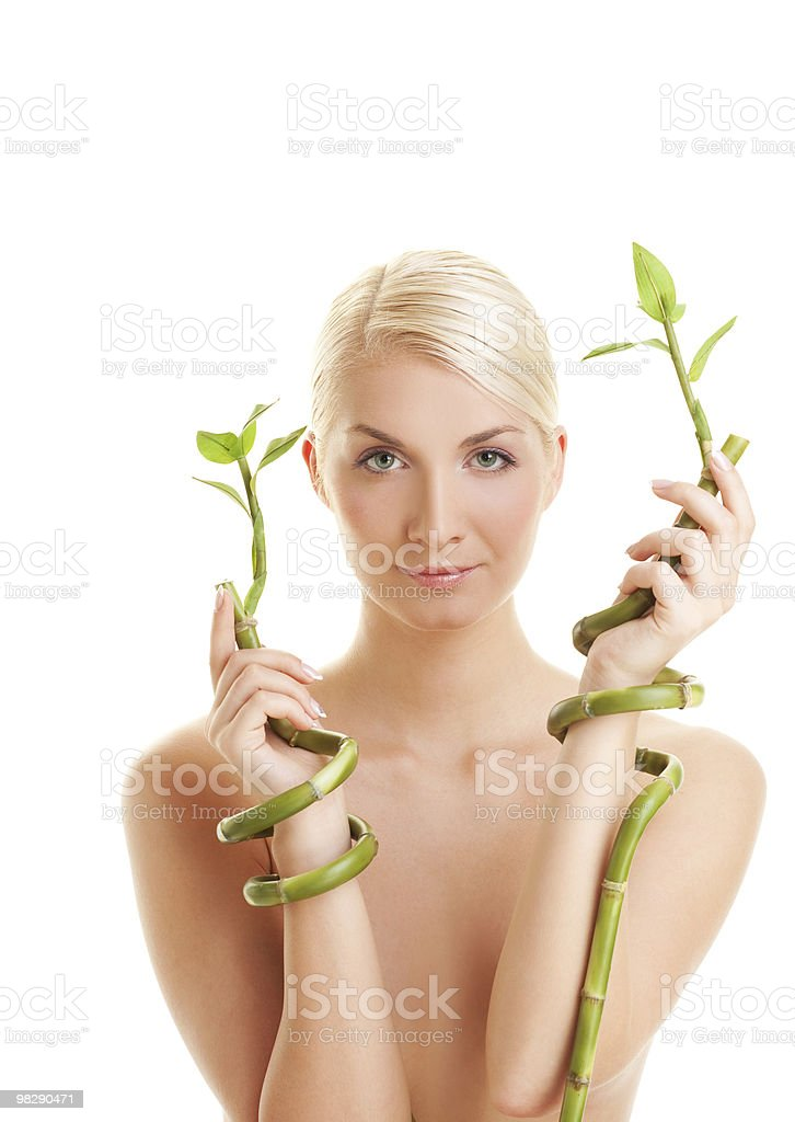 Beautiful woman with bamboo plant royalty-free stock photo