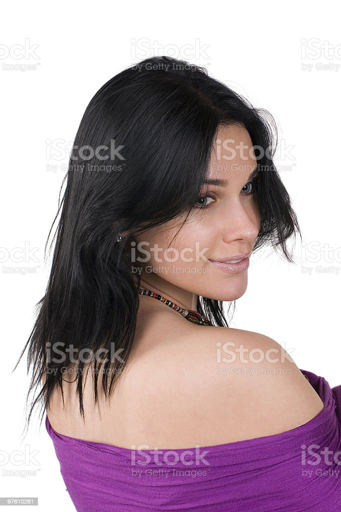 Beautiful woman with bare shoulders royalty-free stock photo