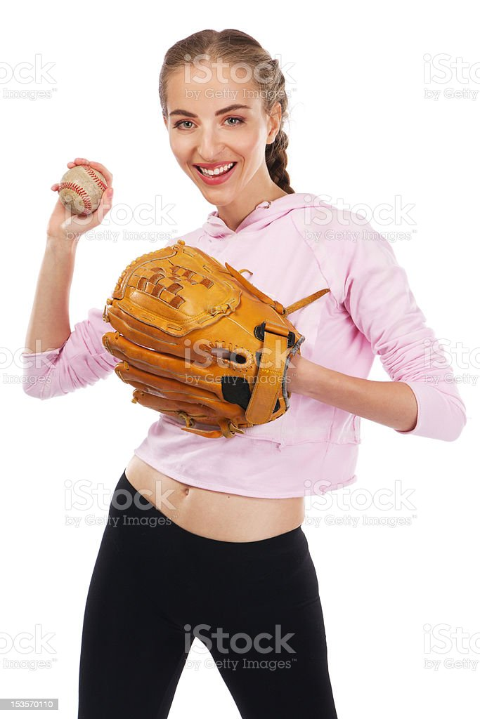 Beautiful woman with baseball equipment royalty-free stock photo
