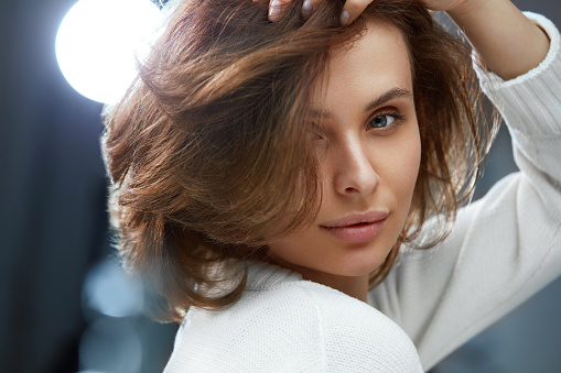 Beautiful Woman With Beauty Face Short Hair And Natural Makeup Stock Photo - Download Image Now