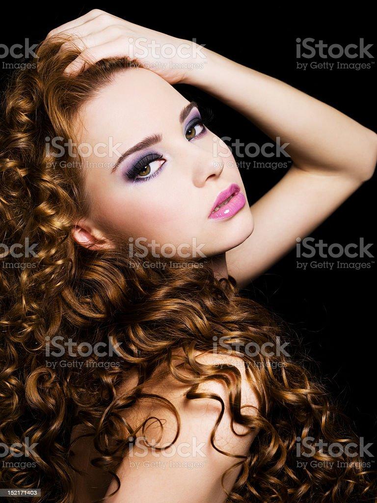 beautiful  woman with beauty  long  hairs stock photo