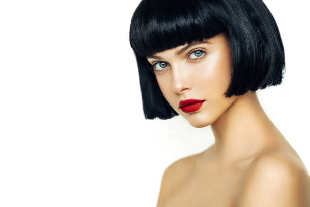 Beautiful Woman With Black Short Hair stock photo