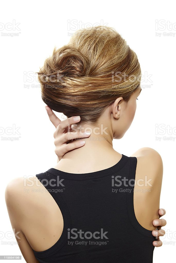 beautiful woman with blond hair stock photo