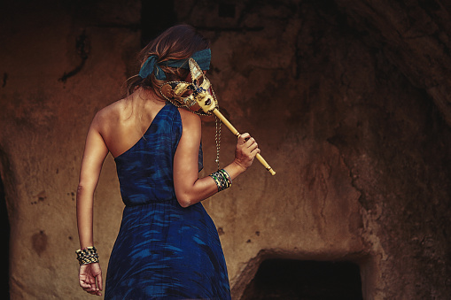 Beautiful Woman With Blue Dress And Venetian Mask