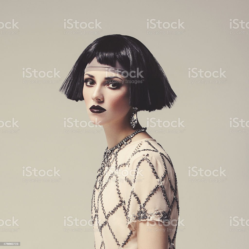 Beautiful woman with bob haircut stock photo