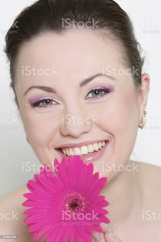 beautiful woman with bright flower royalty-free stock photo