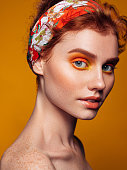 istock Beautiful woman with bright make-up 1272061562