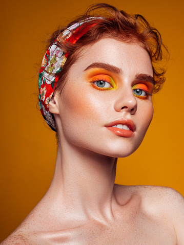 Beautiful woman with bright make-up