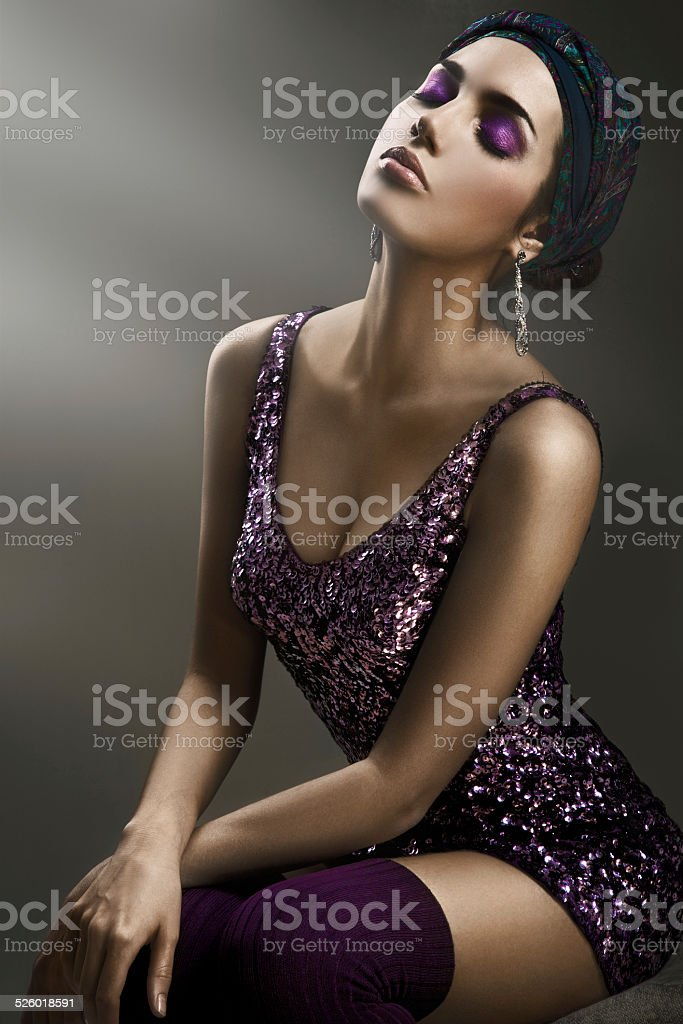 Beautiful Woman with Bright Makeup stock photo