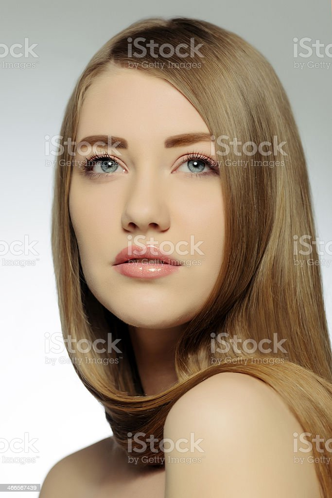 beautiful woman with brown hair stock photo