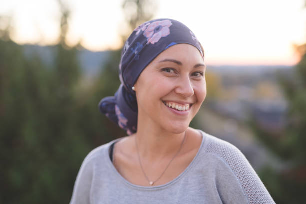 Beautiful Ethnic Woman with Cancer Smiles stock photo