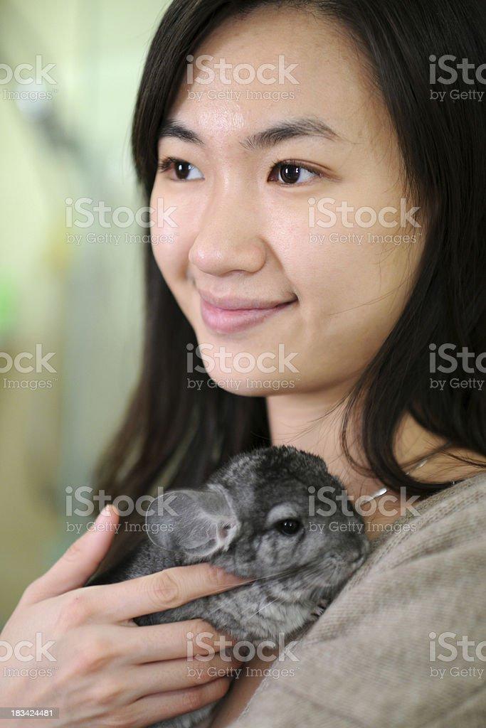 Beautiful Woman with Chinchilla - XLarge royalty-free stock photo