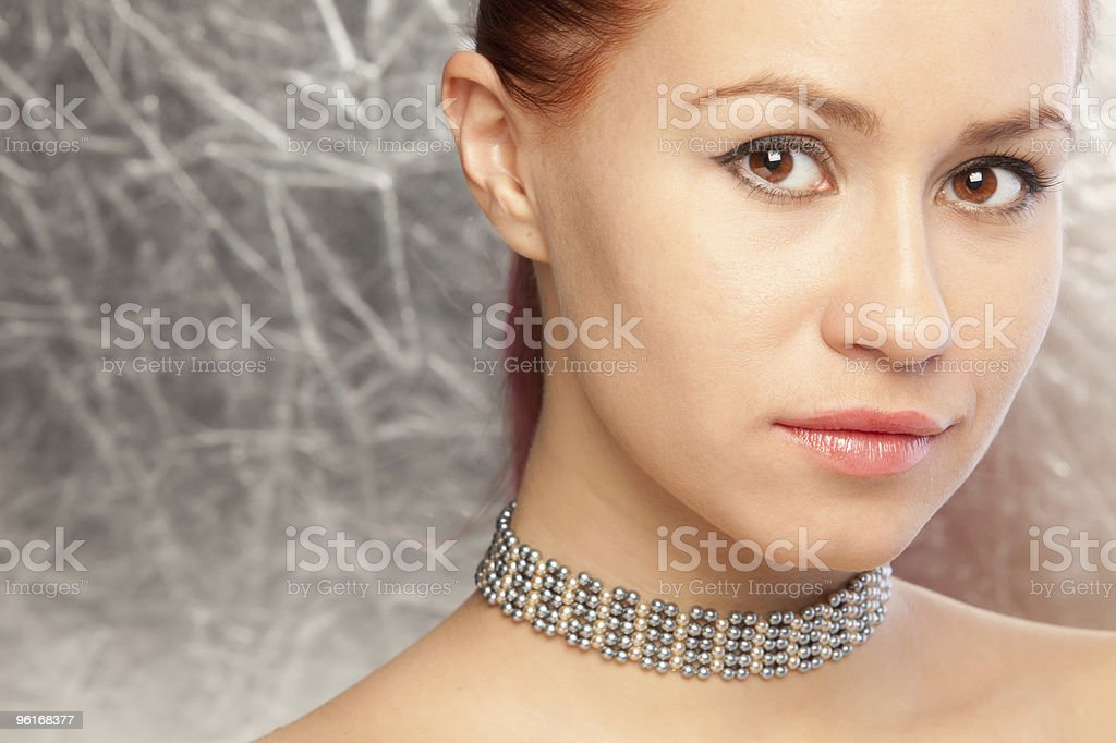 beautiful woman with choker stock photo
