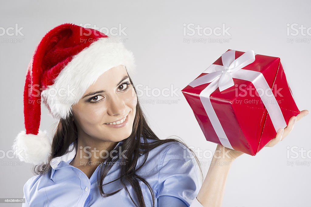Beautiful woman with  christmas gift royalty-free stock photo