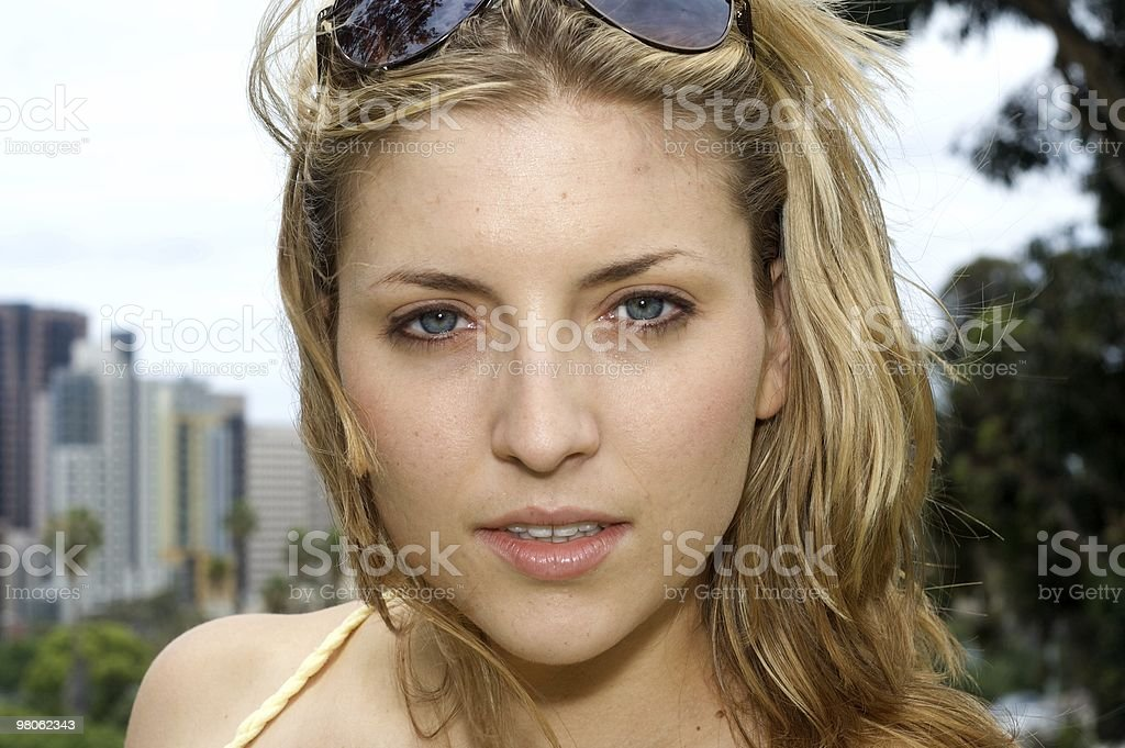 Beautiful Woman With City in the Background royalty-free stock photo