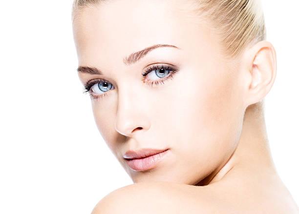 Beautiful woman with clean skin stock photo