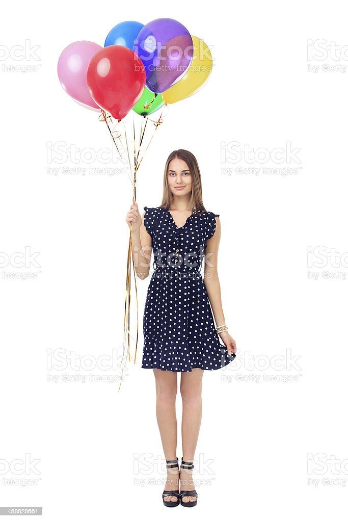Schöne Frau mit bunten Luftballons – Foto