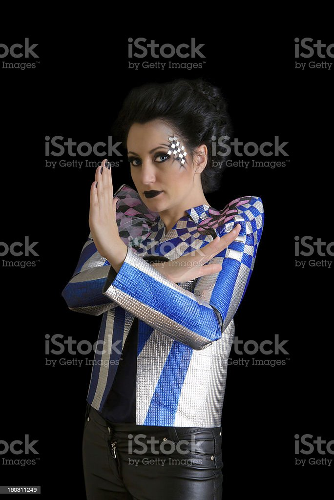 Beautiful woman with creative make up making stop sign royalty-free stock photo