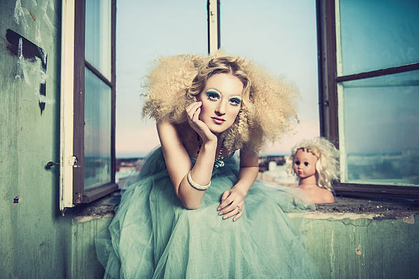 Beautiful woman with creative styling stock photo