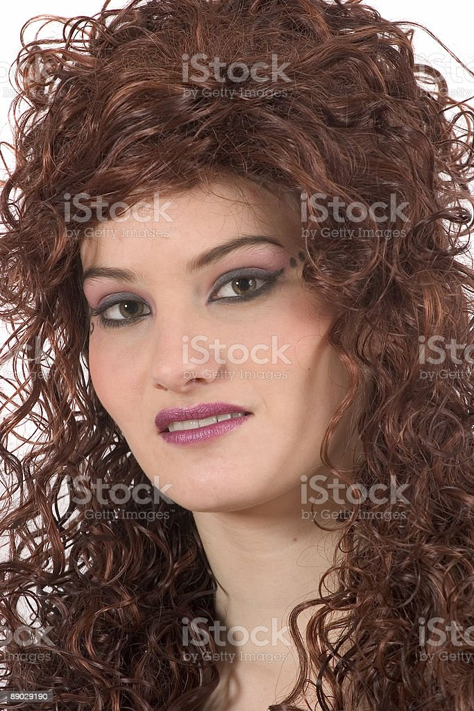 Beautiful woman with curly hair 免版稅 stock photo