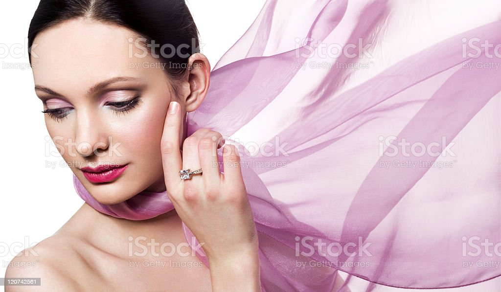 Beautiful woman with diamond ring royalty-free stock photo
