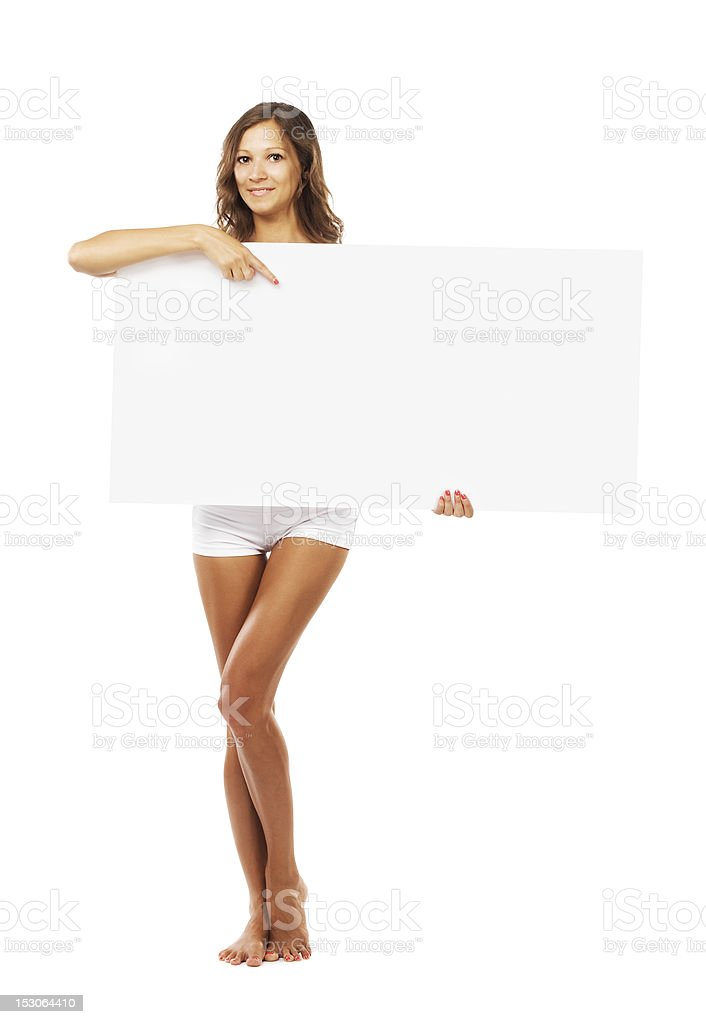 Beautiful woman with empty white board royalty-free stock photo