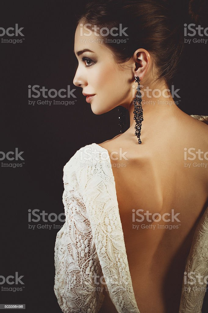 Beautiful woman with evening dress. stock photo