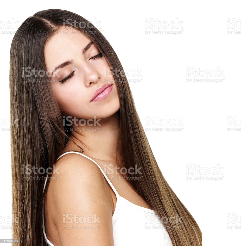 Beautiful woman with eyes closed stock photo