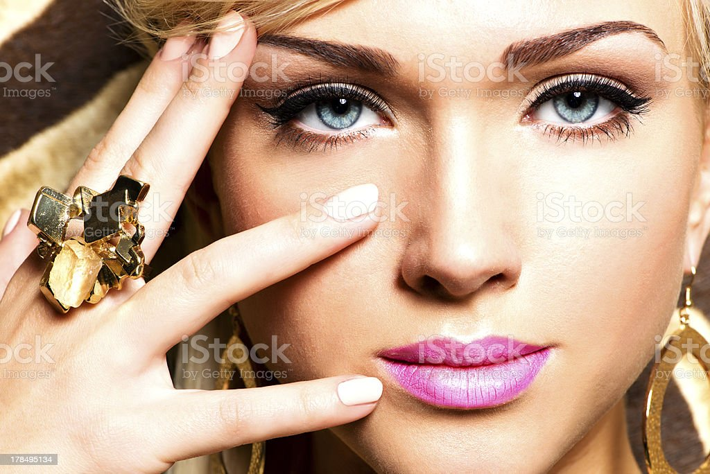 Beautiful woman with fashion makeup stock photo