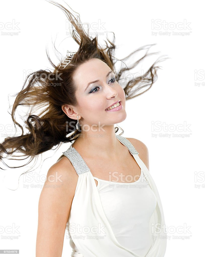 beautiful woman with flapping hair royalty-free stock photo