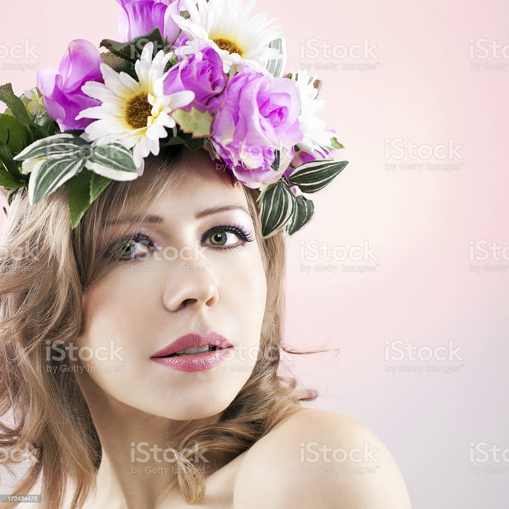 Beautiful woman with flower crown in her head stock photo more beautiful woman with flower crown in her head royalty free stock photo izmirmasajfo