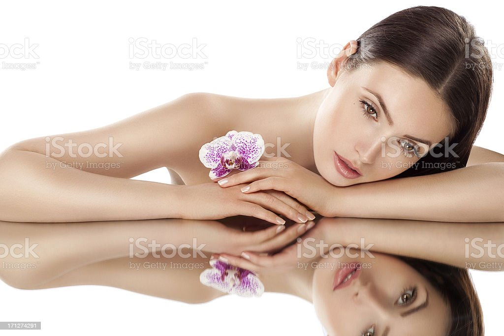 Beautiful woman with flower royalty-free stock photo