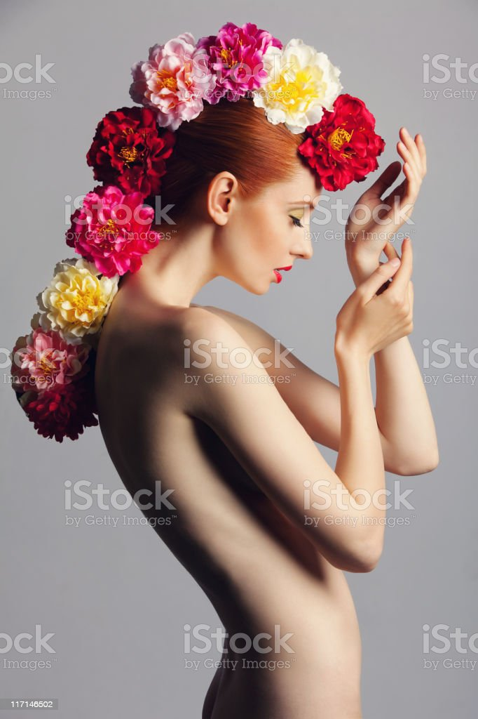 Beautiful woman with flowers  20-24 Years Stock Photo