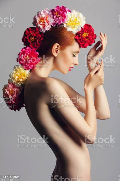 Beautiful Woman With Flowers Stock Photo - Download Image Now