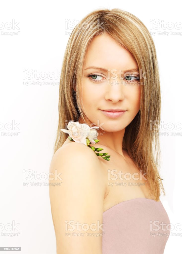 Beautiful woman with flowers foto stock royalty-free