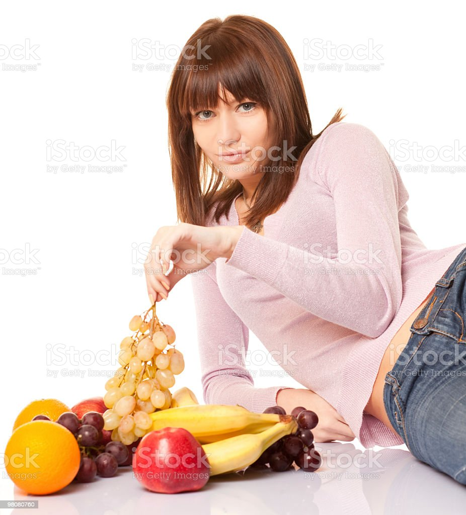 beautiful woman with fruits royalty-free stock photo