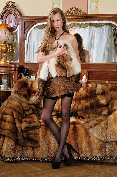 beautiful woman with furs in a luxurious classical interior. - naked women with animals stock photos and pictures