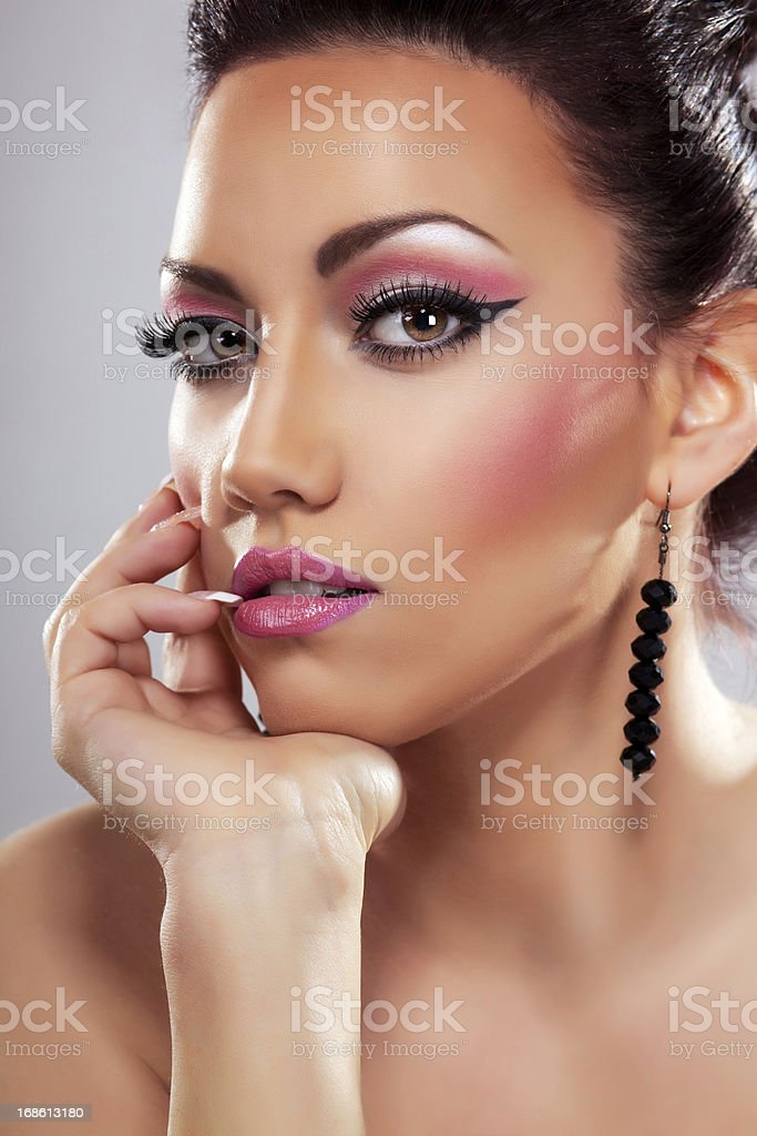 Beautiful woman with glamour make-up. royalty-free stock photo