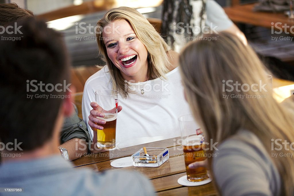 Beautiful Woman With Glass Of Beer royalty-free stock photo