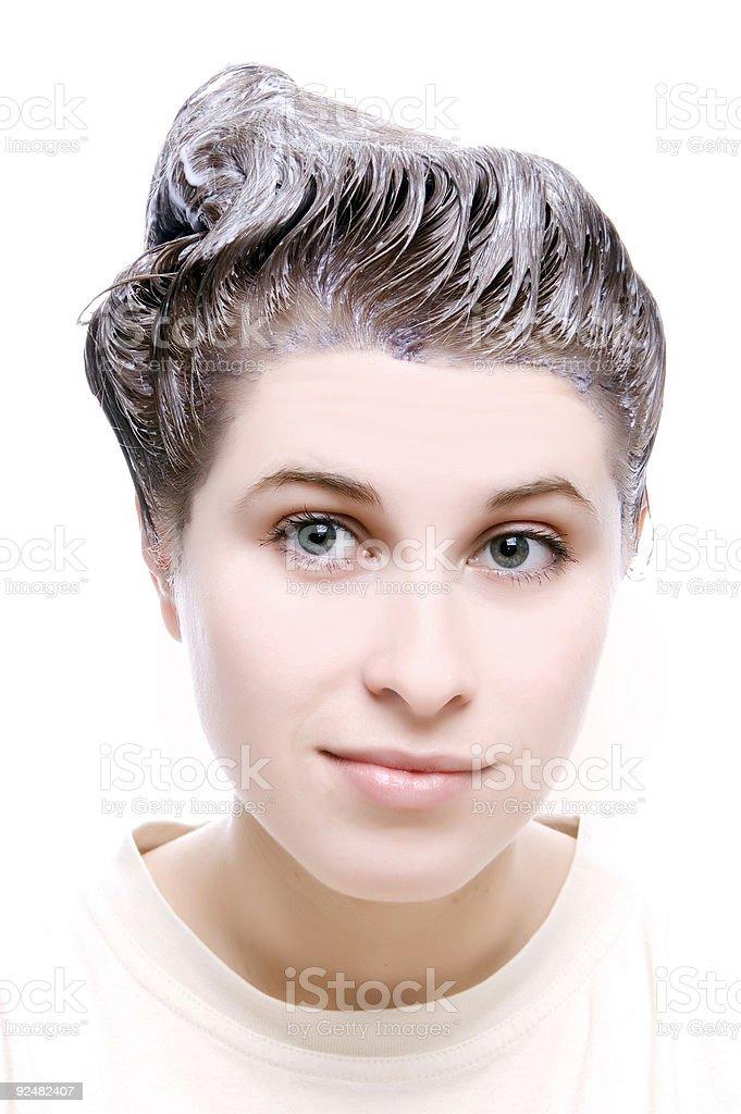 Schöne Frau mit Haar-dye-Effekt Lizenzfreies stock-foto
