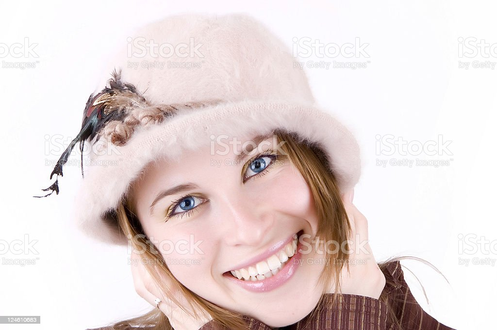 beautiful woman with hat stock photo