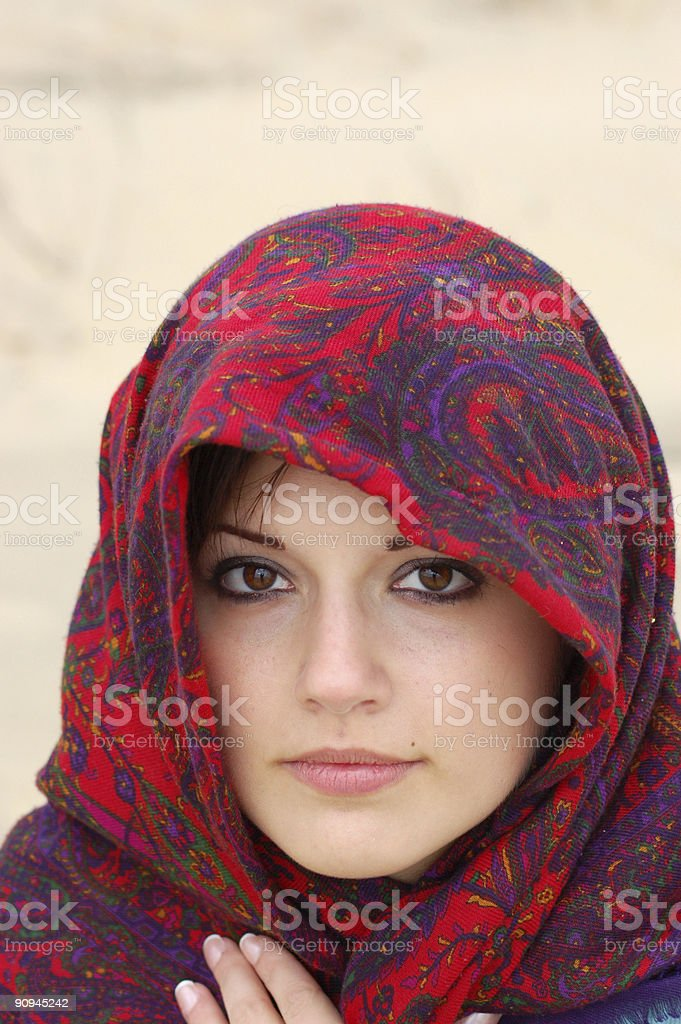 Beautiful woman with headcovering royalty-free stock photo