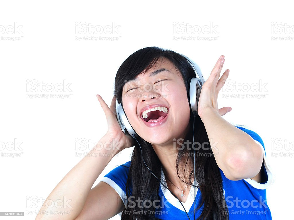 Beautiful Woman with Headphone royalty-free stock photo