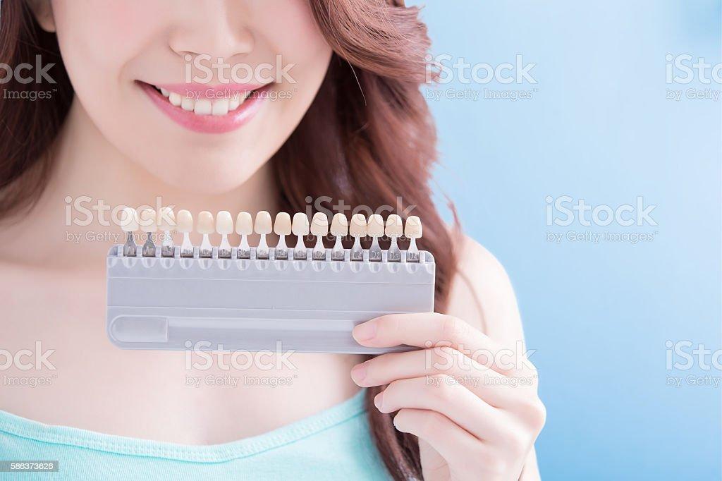 Beautiful woman with health teeth stock photo