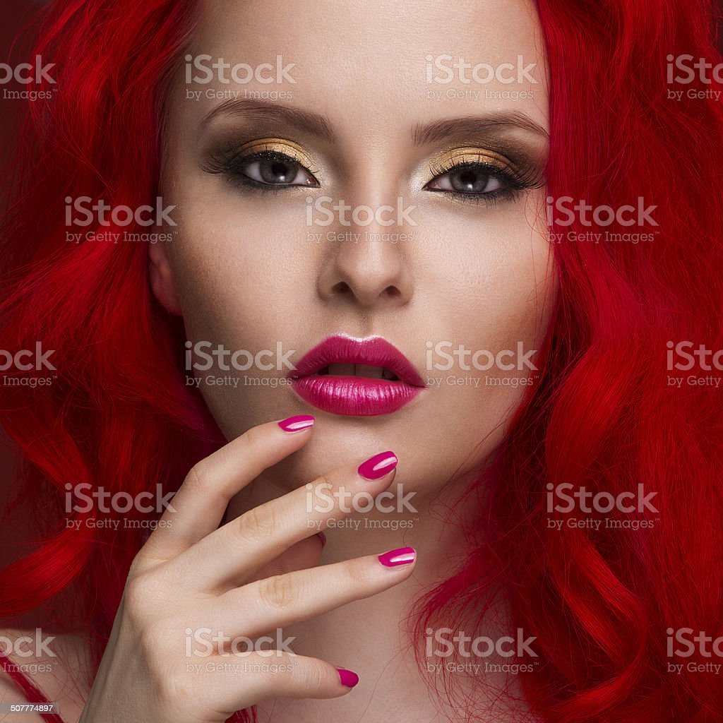 Beautiful Woman with Healthy Red Hair stock photo