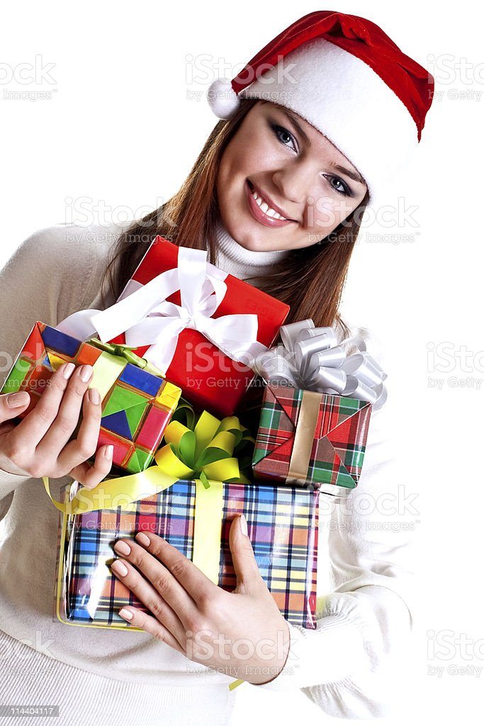 beautiful woman with holiday gift royalty-free stock photo