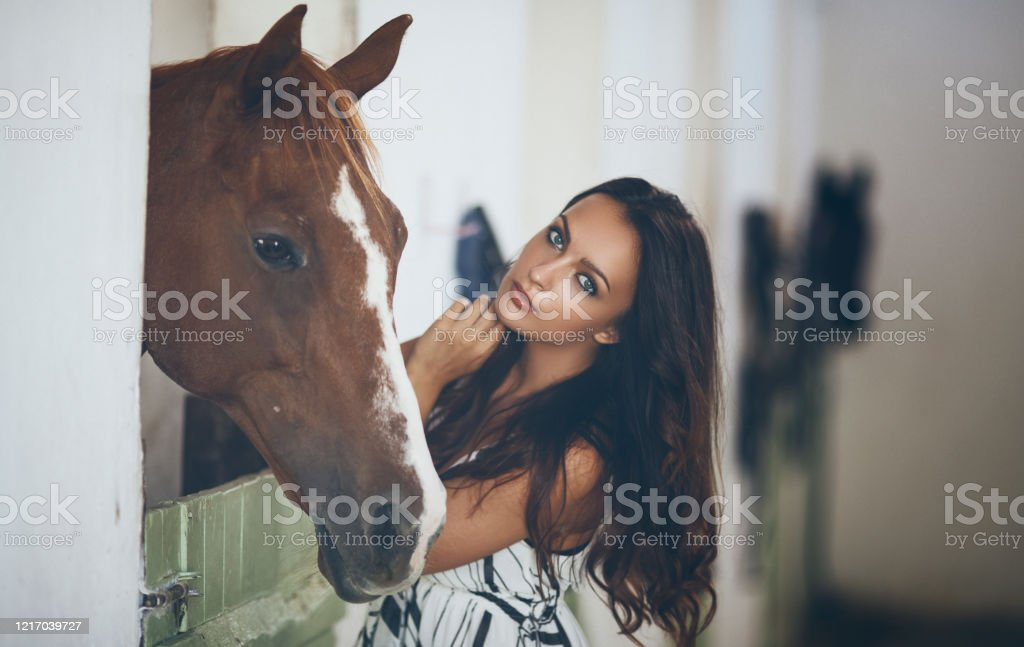 Beautiful Woman With Horse In Horse Stables Stock Photo Download Image Now Istock
