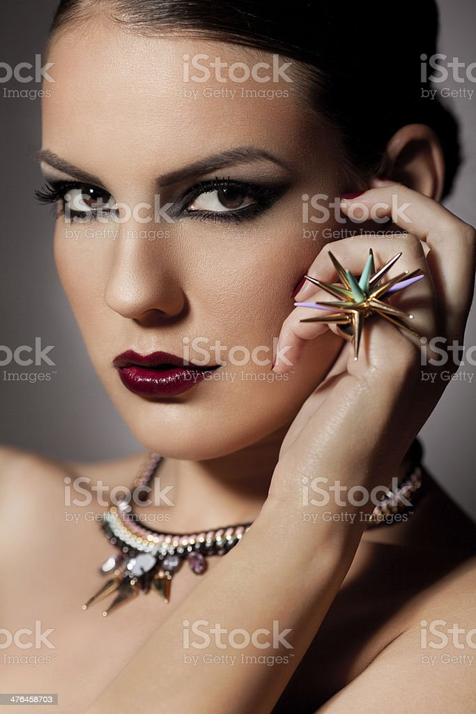 Beautiful woman with jewelry royalty-free stock photo