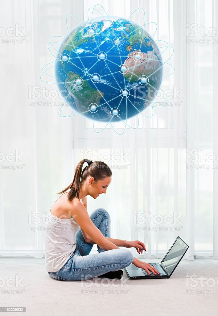 Beautiful woman with laptop stock photo