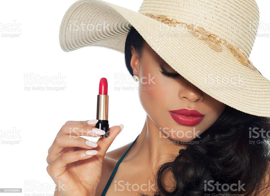 Beautiful Woman With Lipstick stock photo